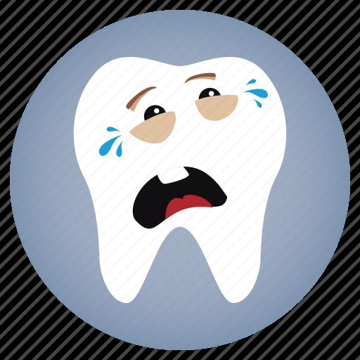 cry, dental, dentist, tooth icon