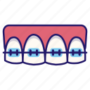 dental, dental braces, dentistry, medical, mouth, orthodontic, tooth icon