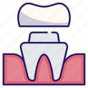 artificial, dental, dental crown, dentistry, medical, restoration, tooth icon