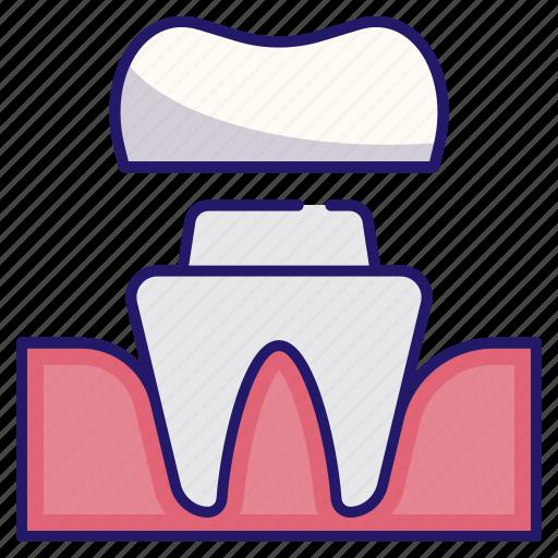 artificial, dental, dental crown, dentistry, medical, restoration, tooth icon