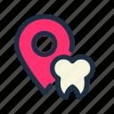 dental, dentist, location, map, navigation, pin, pointer