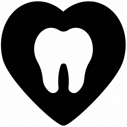 dental heart, dentist, heart, heart shape, like sign icon