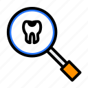 dentist, magnifier, medical, search, tooth, treatment icon