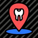 clinic, dental, dentist, location icon