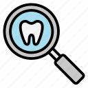 check, dental, dentist, find, search, stomatology, teeth, tooth icon