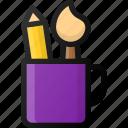 design, mug, concept, pain, brush, pencil