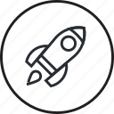 design, development, explore, innovation, launch, line, rocket icon
