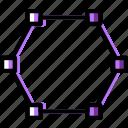 design, edit, graphic, hexagon, line, tool