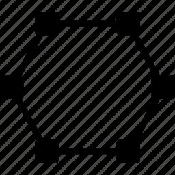 design, edit, graphic, hexagon, line, tool icon