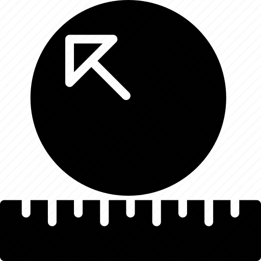 cad, design, measure, radius, solid icon