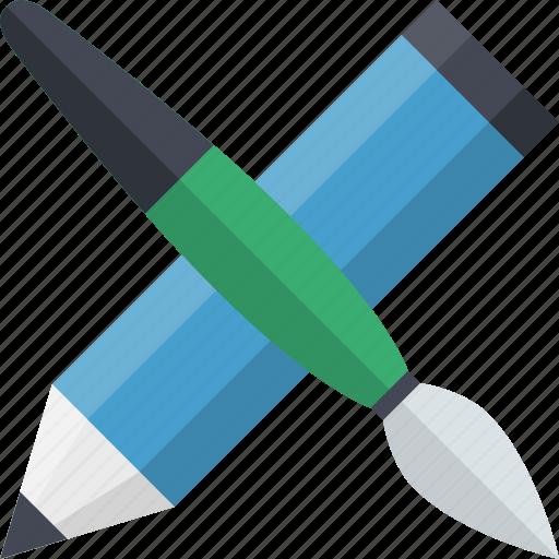 brush, creative, creativity, design, design tools, equipment, pencil icon
