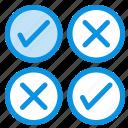 creative, cross, design, tick icon