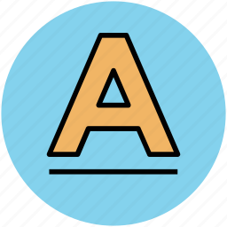 a, alphabet, font, letter a, text, word icon