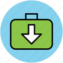 data download, down arrow, download, income data icon