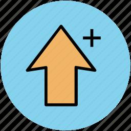 add arrow, arrow key, ascending, cursor, plus, plus sign, sort up icon