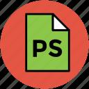 adobe photoshop, design file, extension file, photoshop file, ps, ps file icon