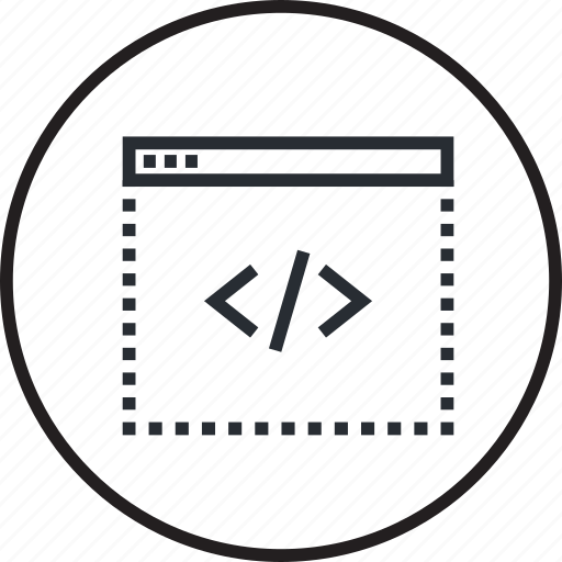 coding, custom, design, development, line, programming, website icon