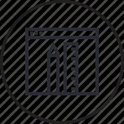 admin, design, development, line, panel, website icon