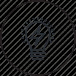 design, development, idea, light bulb, line, testing icon