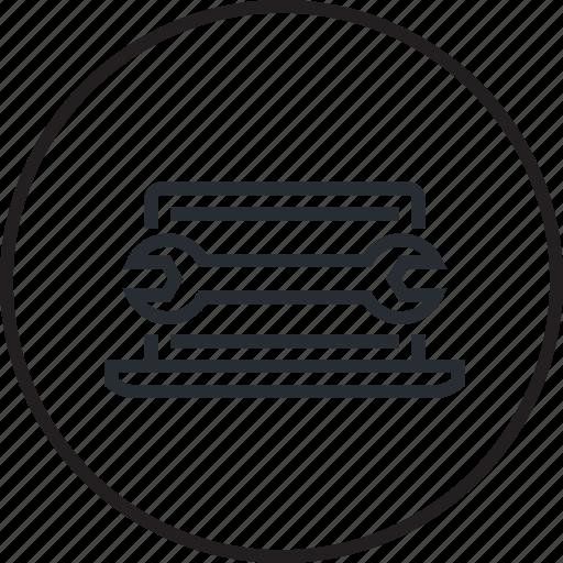 computer, design, development, line, maintenance, reparation, setting icon