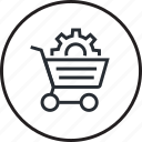 design, development, e-commerce, line, optimization, shopping icon