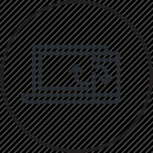 computer, design, development, line, mobile, sync, synchronization icon