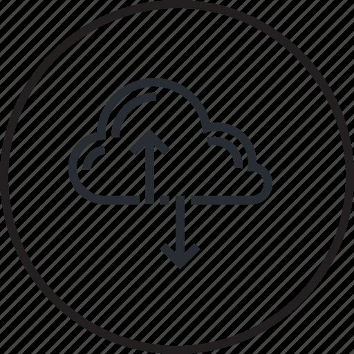 cloud, computing, design, development, internet, line, network icon