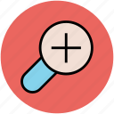 glass, magnifier, magnifying glass, search, zoom, zoom in icon