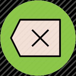 close, cross, cross sign, delete, label, remove icon