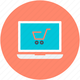 e commerce, laptop, online shop, online shopping, shopping cart icon