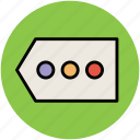 bullets, dotted, label, seo, shopping tag, tag icon