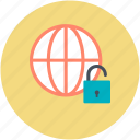 cyberspace, globe, globe security, globe unlock, security icon