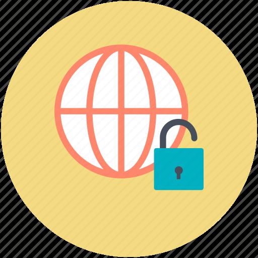 cyberspace, globe, globe security, globe unlock, security icon