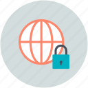 cyberspace, globe, globe lock, globe security, security icon