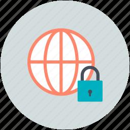 cyberspace, globe, globe lock, globe security, security icon