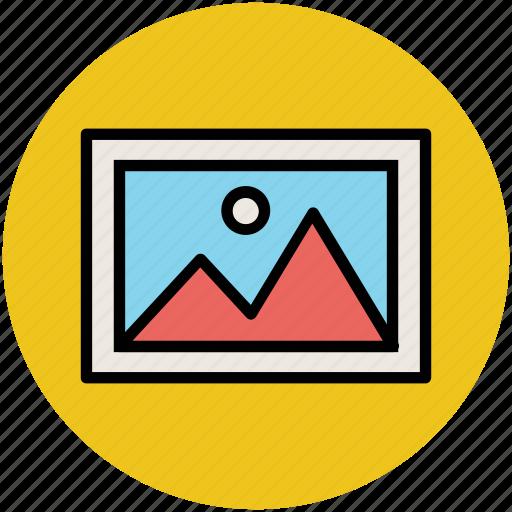 image, landscape, morning view, mountain, sun, sunshine icon