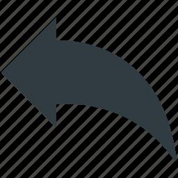 arrow, diagonal, left, left arrow, redo arrow icon