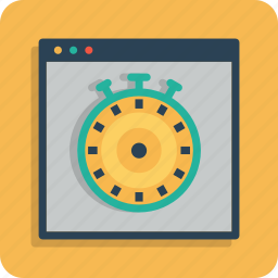 optimization, response, speed, time, timer, webpage, website icon