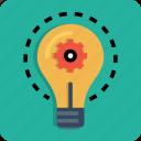 bulb, gear, idea, imagination, innovation, light, setting
