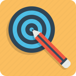 board, bullseye, dart, goal, idea, pencil, target icon
