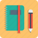 book, education, folder, log, notebook, pen, pencil icon