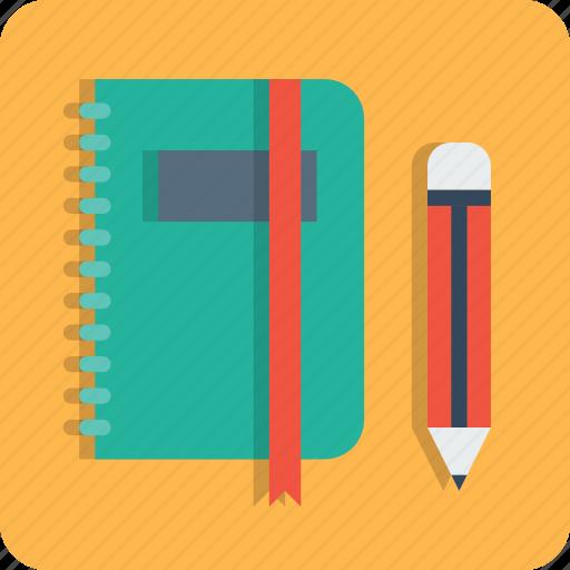 book, education, folder, log, notebook, pen, pencil icon