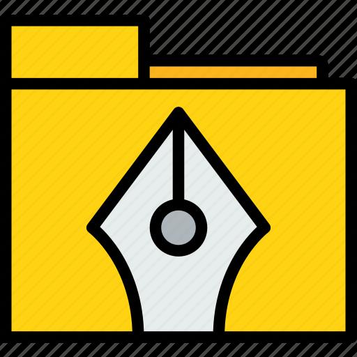 design, folder, graphic, pen icon
