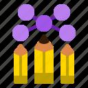 collaboration, idea, network, pencils, teamwork icon