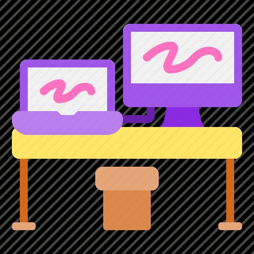 desk, imac, macbook, setup, workspace icon