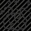brain, creative, arrow, direction, idea, navigation icon