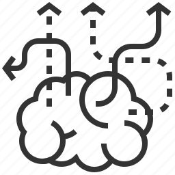 arrow, brain, creative, direction, idea, navigation icon