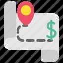 design, designthinking, map, money, plan, target, thinking icon