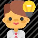 brainstorm, brainy, design, designthinking, smart, thinking, worker icon