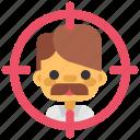 design, designthinking, hunt, hunting, man, target, thinking icon